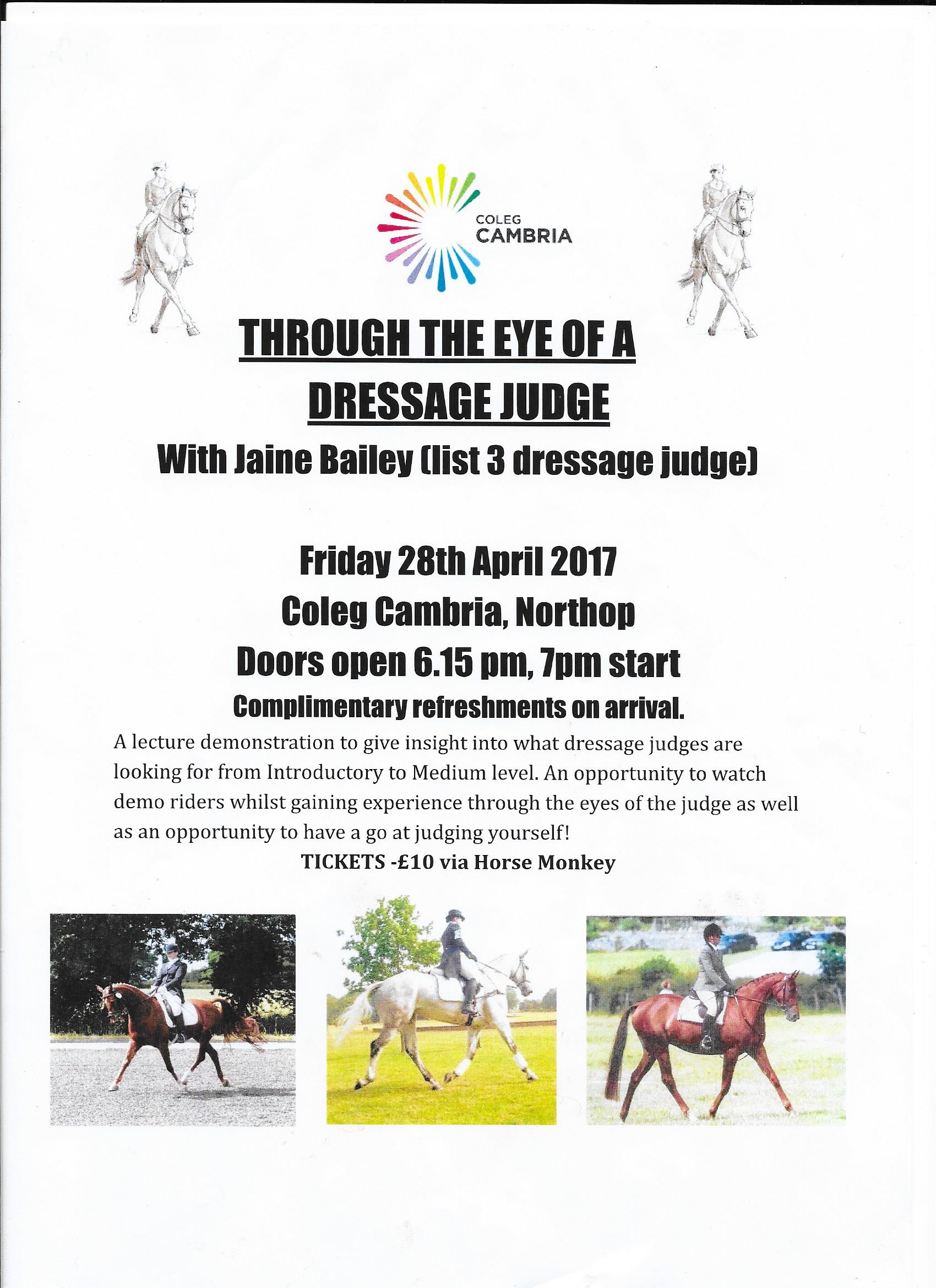 Coleg Cambria - through the eyes of a dressage judge